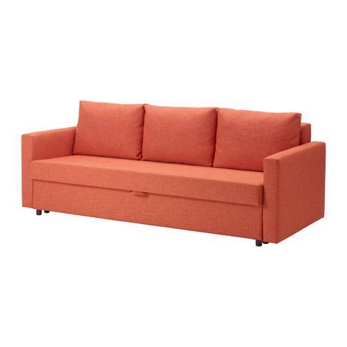 IKEA - FRIHETEN, Divano letto a 3 posti, Skiftebo arancione scuro, , Si trasforma facilmente in un letto.Pratico e ampio vano contenitore sotto il sedile.