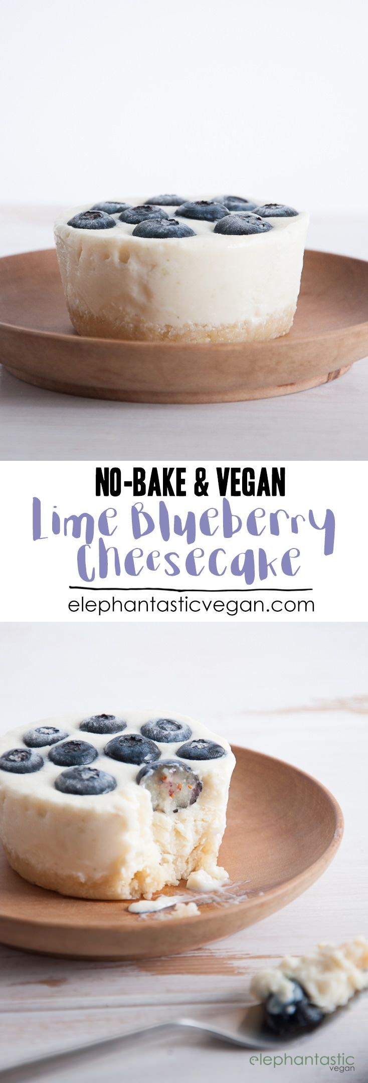 No-Bake Lime Blueberry Cheesecake | ElephantasticVegan.com