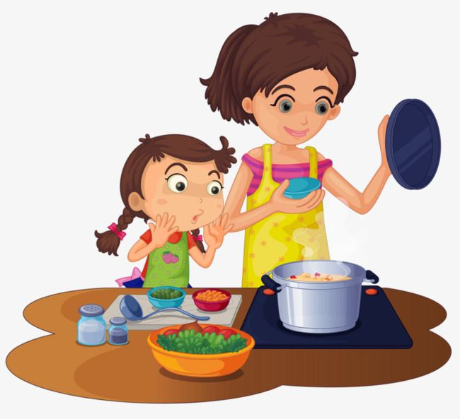 Girl Cooking Ingredients Mom Cartoon Kids Kids Cartoon Characters Kids Background