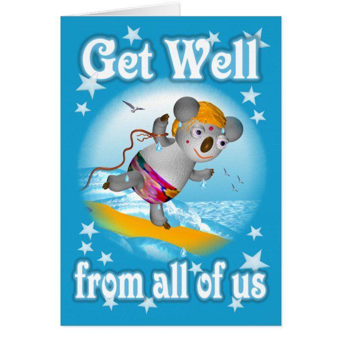 Koala Getwell Surfer Card Blank Zazzle Com
