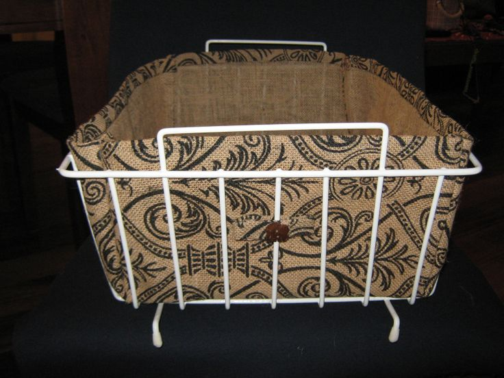 Burlap Liner wire basket with Elephant Coconut buttons.