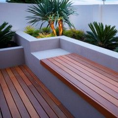 Wooden bench for the pool.
