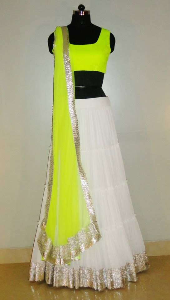 Indian# Bollywood fashion # Ghagra Choli # white # neon # Vitamin by Sonalika # Sonalika Pradhan