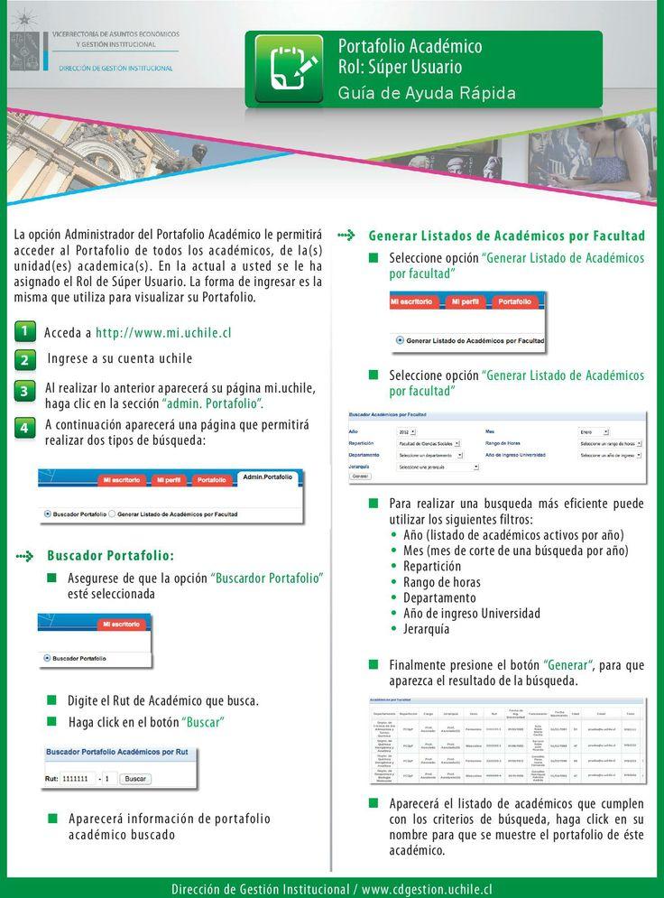 Funcionalidades Rol Super Usuario en Portafolio Académico. Ver más en http://www.desapmo.uchile.cl/implantacion/manuales/portafolio_academico/guia_ayuda_rapida_rol_super_usuario.pdf