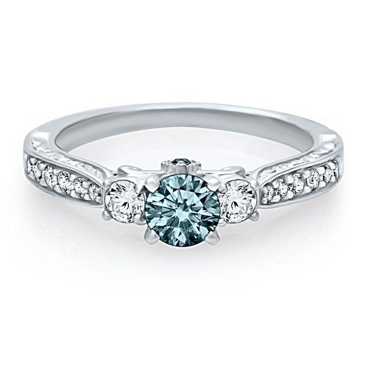 Helzberg Diamond Symphonies 7/8 ct. tw. Blue Diamond Engagement Ring in 14K Gold