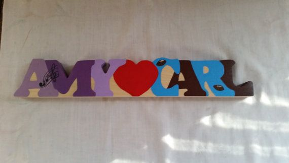 wooden names plate love sign personalized by WoodnThingsNY12534