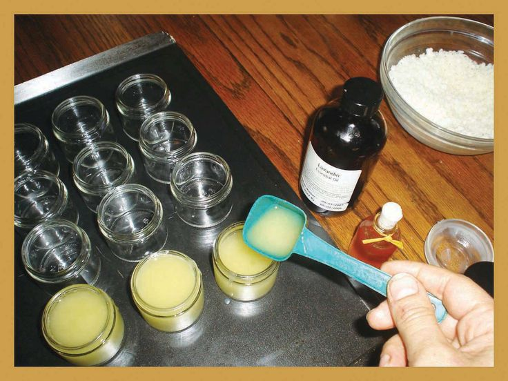 """Every Beekeepers Simple Lip Balm Recipe excerpted from """"HONEYBEE Lessons From An Accidental Beekeeper"""":      1 oz. beeswax   5 oz. extra-virgin olive oil   5 drops of honey   2-3 drops honey essential oil      Melt beeswax and oil in double boiler until clear. Add EO and pour into tins. Never melt beeswax over a direct flame.  http://www.redbee.com/"""