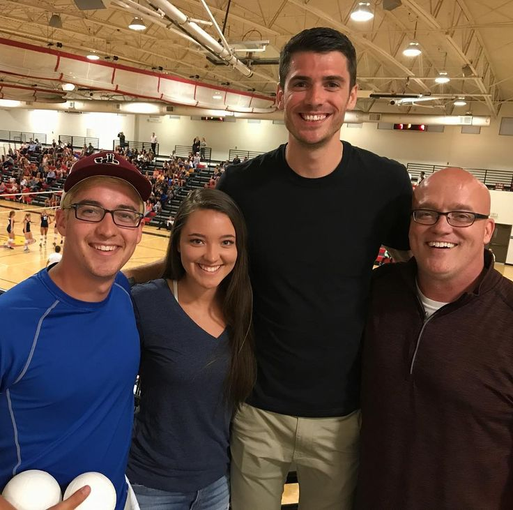 14.06.2017 usavolleyball IG: Olympian sighting at #USAvCAN match as Matt Anderson is a taking in the match. @Rachelledyard and her brother Cuyler and father Chris Ledyard pose with Matt at #USAVwnt match with Canada. Chris is athletic director at @jserralions where the match is being played