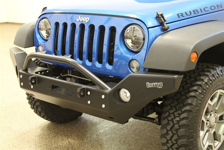 Rock Hard 4x4™ Aluminum Patriot Series Full Width Front Bumper w/ Lowered Winch Mount for Jeep Wrangler JK 2/4DR 2007 - 2017 [RH-5045]