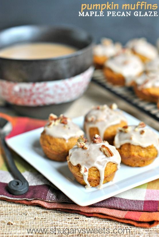 Pumpkin Muffins with Maple Pecan Glaze - Shugary Sweets