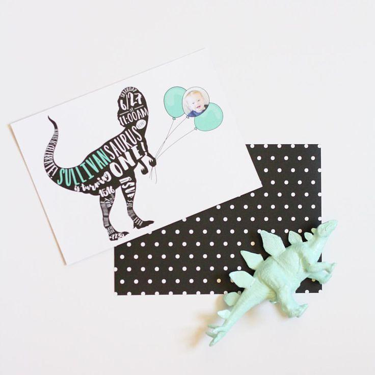 modern polka dot mint black white dinosaur invitation // Brittany Garner Design http://www.brittanygarnerdesign.com/pages/custom-design