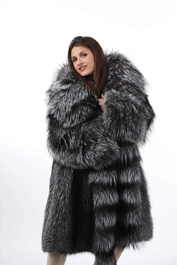Luxury Silver Fox Fur Coat Womens Hooded Knee Length silver fox fur coat knee length hood made of fur on both sides hooks and loops closure silk lining fox fur pelts from Finland If you need bigger than XL please contact us for quotation or other inquiries?please feel free to