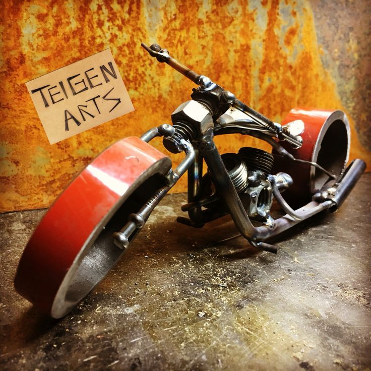 Custom choppers for sale! Purchase yours today and be the envy of the neighborhood! For $75.00 you could be cruising up and down the street on your custom chopper. #TeigenArts #metalart #welding #craft #motorcycle #scrapmetalart #scrapmetal