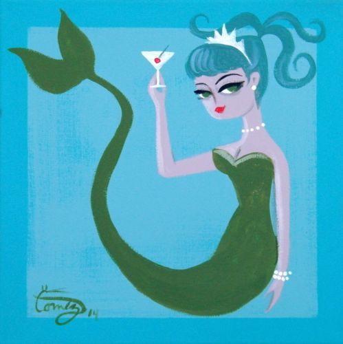 El Gato Gomez Painting Retro 50s Mid Century Modern Pin Up Girl Mermaid Martini ~♛