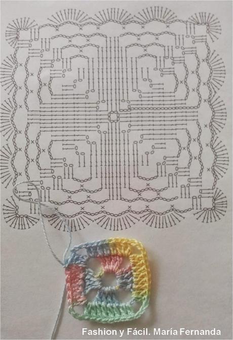 Una flor o cruz en un granny square, punto afgano pastillas o motivos. Esquemas y Paso a Paso (A crocheted flower or a cross on a granny square. Pattern)