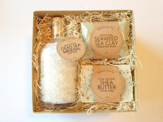 Salt Bath Spa Kit  Gift Set  6x6x3 Box  4 oz Soap Bar  1 by elaeis wedding welcome basket