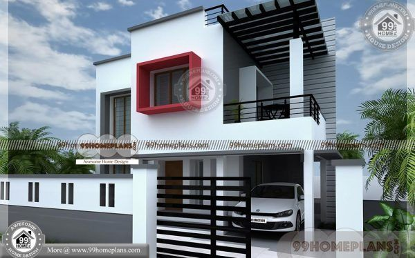 Budget Friendly House Plans 90 Two Story House With Balcony Online Kerala House Design Duplex House Design Small House Plans