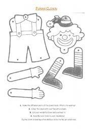 English worksheet: Clown - Carnival - Body Parts