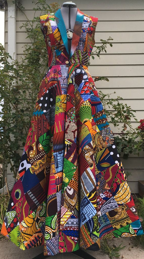Make a Scene! Reversible African Wax Print Coat Dress Patchwork and Your Choice of Reverse Print