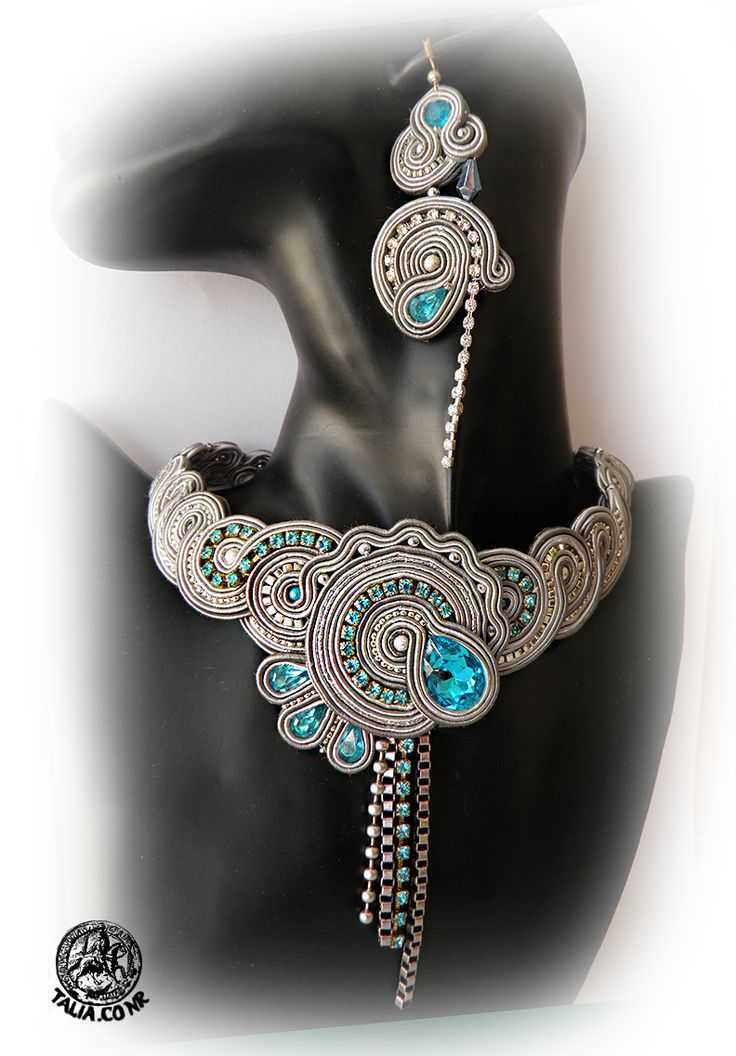 Grey soutache set of necklace and large earrings by caricatalia.deviantart.com on @deviantART