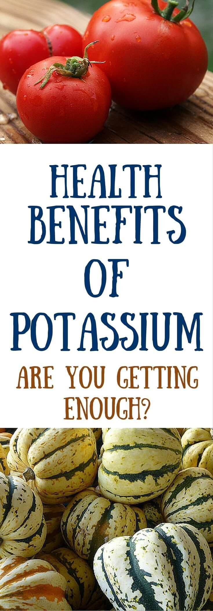 Health benefits of potassium. Getting enough potassium is critical to good healt... 1