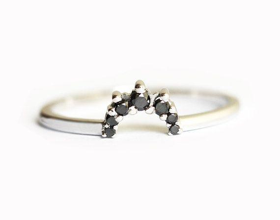 black diamond crown ring black diamond wedding band by minimalvs - Wedding Rings With Black Diamonds
