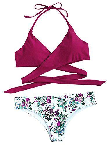51ac7b26894 ICYMI: SweatyRocks Women's Sexy Two Pieces Swimsuit Criss Cross Padded  Floral Print Halter Bikini Set