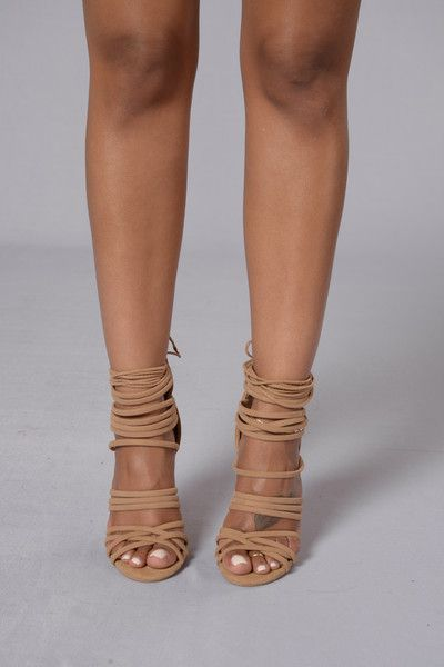 "- Available in Camel - Strappy Sandal - Suede - Ankle Tie - Zipper Back Closure - 4"" Heel"