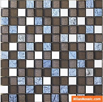 23x23mm Glass Mosaic Tile With Metal MG-GMB086