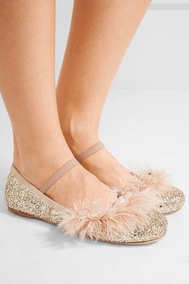 Miu Miu - Faux Pearl, Crystal And Feather-embellished Glittered Leather Ballet Flats - Pink - IT40.5