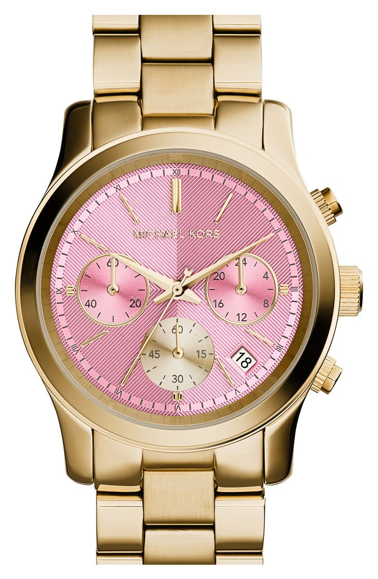 Love the pop of pink for spring | Michael Kors 'Runway' watch.