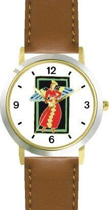Woman Angel in Red & Gold - Cherub, Angel or Cupid Theme - WATCHBUDDY® DELUXE TWO-TONE THEME WATCH - Arabic Numbers - Brown Leather Strap-Children's Size-Small ( Boy's Size & Girl's Size ) WatchBuddy. $49.95