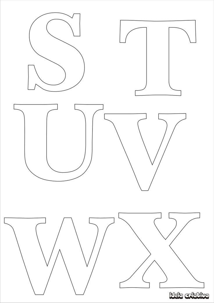 Molde de letras para imprimir alfabeto completo fonte vazada   Ideia ...