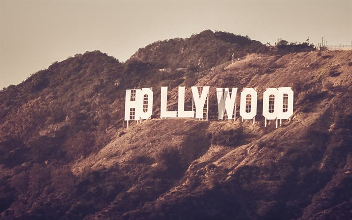 Herunterladen hintergrundbild hollywood sign, mountain, los angeles, kalifornien, usa