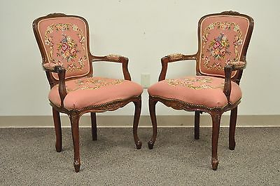 Pair of Vintage French Louis XV Styl Pink Floral Needlepoint Fireside Arm Chairs