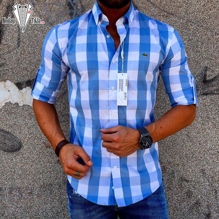 Lacoste Mavi Beyaz Kareli Gömlek