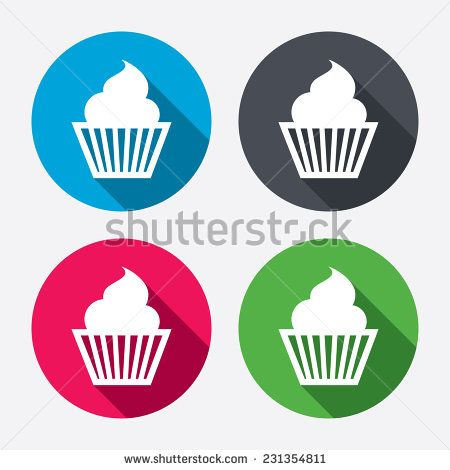 Muffin sign icon. Cupcake symbol. Circle buttons with long shadow. 4 icons set. - stock photo