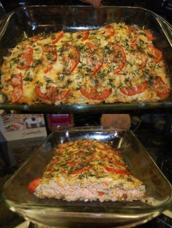 Запеченная красная рыба, с рисом, сыром и овощами