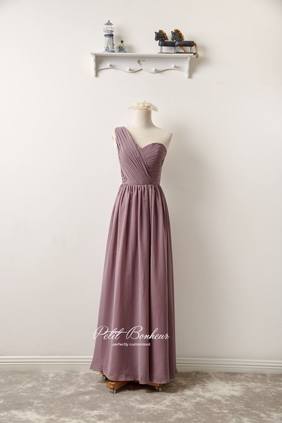 Mauve one shoulder prom dress pale mauve by PetitBonheurStudio