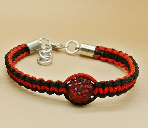 Product description for Red And Black Twist Shamballa Bracelet