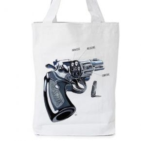 """Carry a success story!  A gun with """"SUCCESS LOADED""""!  3 bullets :  knowledge, intelligence & competitive...  is what make a true and """"success loaded """" Leader...     original artwork & concept by Vas      WHITE ORGANIC FASHION TOTE BAG  - Climate Neutral®  100% Organic Cotton Twill Weave 170 g / 5.1 oz.  ONE SIZE : Width 36 x Height 42 x Depth 8 cm  #storymood #totebags #beachbags"""