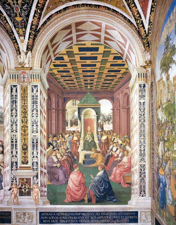 Пикколомини передает Папе Евгению  IV послание от имени императора  фридриха  III