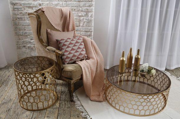 Стол Армур-2 - дизайнерский металлический журнальный столик. Стеклянная столешница. Ар-деко, современный стиль.Круглый столик. Круглая столешница.