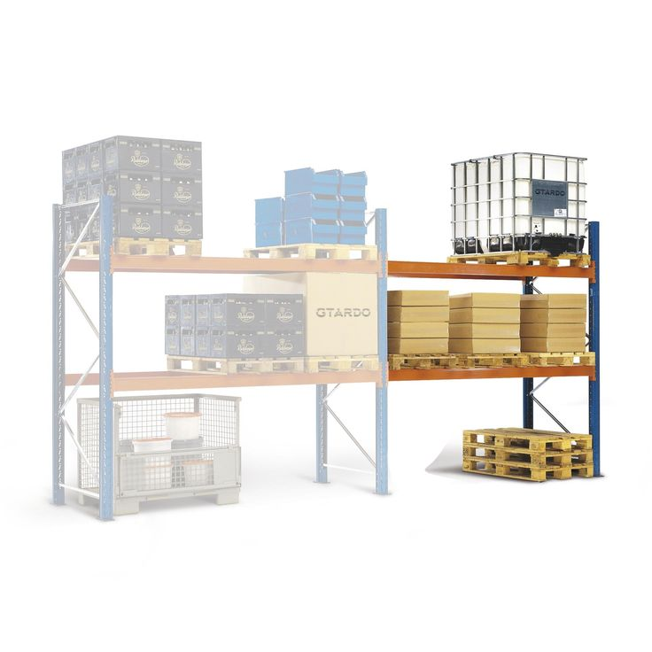 GTARDO.DE:  Palettenregal Anbauregal 336x270x75 cm, 2 Böden, Fachlast 3000 kg, Feldlast 6000 kg 327,00 €