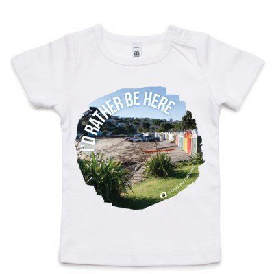 """Baby Clothing -  NZ Baby T-Shirt - """"I'd Rather Be Here"""""""