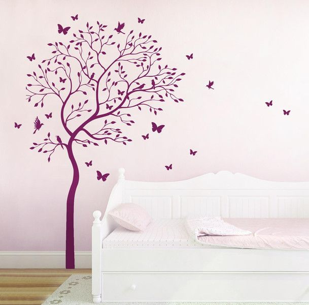 Amazing Wandtattoo Baum V gel Schmetterlinge Kolibri M