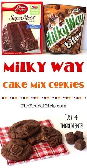 Milky Way Chocolate Cake Mix Cookies Recipe! ~ from TheFrugalGirls.com ~ this easy cookie recipe is out-of-this-galaxy-good! Just 4 ingredients!! #cakemix #recipes #thefrugalgirls