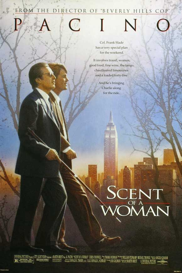 Scent of a Woman , starring Al Pacino, Chris O'Donnell, James Rebhorn, Gabrielle Anwar. A prep school student needing money agrees to 'babysit' a blind man, but the job is not at all what he anticipated. #Drama