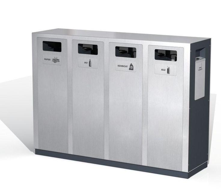 Wertstoffbehälter W2, Recyclingstationen, Public Waste Bins, Edelstahl, Inox, Swiss Made, poubelle recyclage, Abfallbehälter 110 Liter, PET Recycling