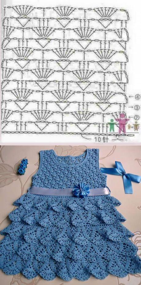 Aceasta rochie este o eleganță în această lucrare, în modele de fire de croșetat cu grafic.  |  Modele de croșetat